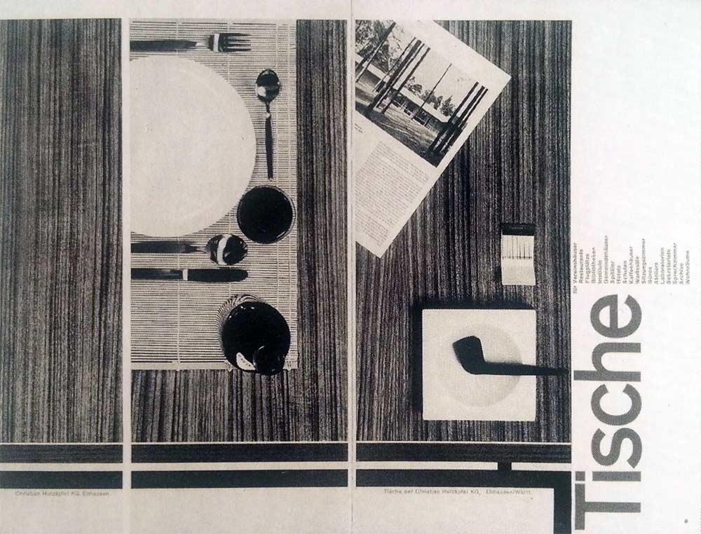 Tische—Brochure Cover for Holzapfel by Karl Gestner