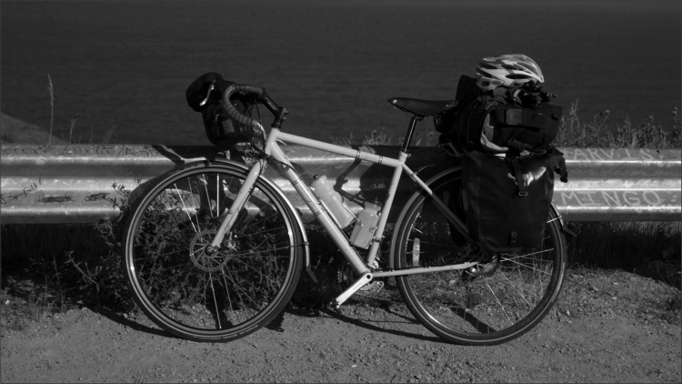 Photo of my touring bike, loaded with gear