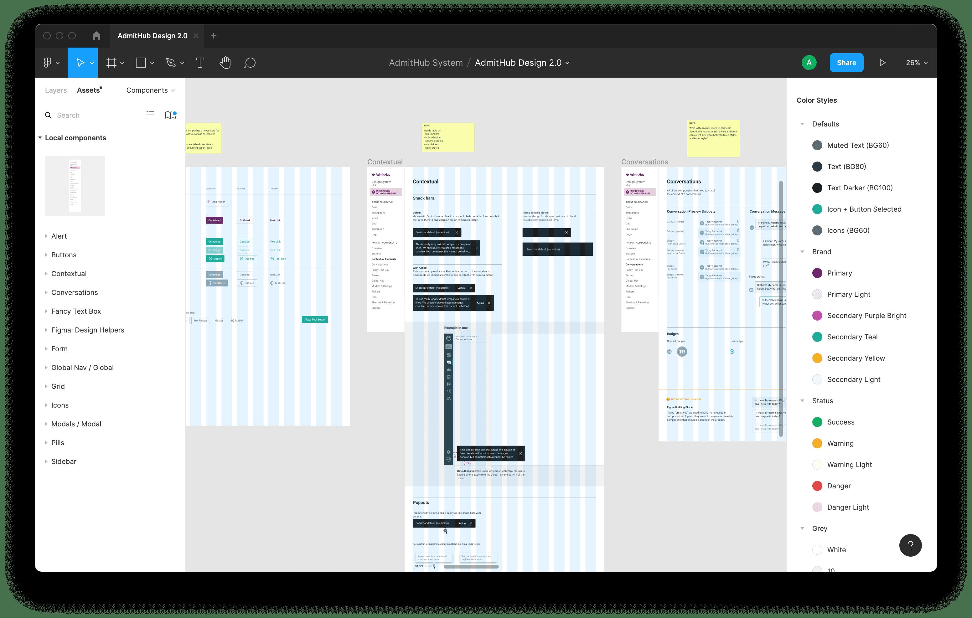 screenshot of design system in Figma