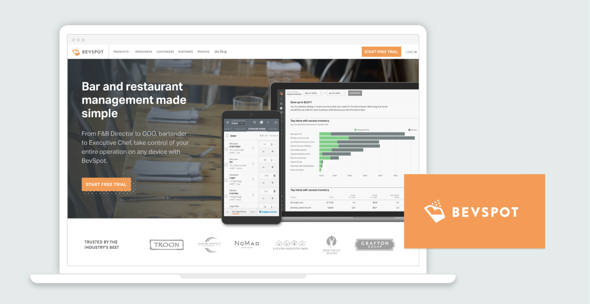 BevSpot website screenshot and logo design